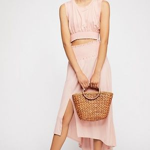 Jersey Crop top and skirt Set in Pink or Heather G